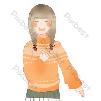 мультфильм милая девушка свободный вырез Графические элементы шаблон PSD