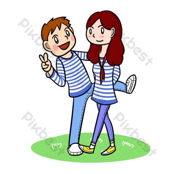 Cartoon five year youth festival sea soul shirt young couple png transparent bottom PNG Images Template PSD