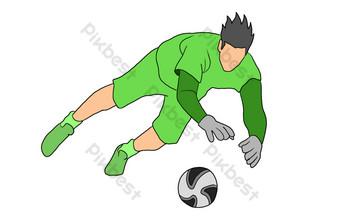 Illustration de gardien de but de football de dessin animé Éléments graphiques Modèle PSD