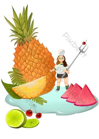 كارتون الفاكهة موضوع التوضيح رائعة صور PNG قالب PSD