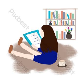 niña de dibujos animados sentada en el suelo leyendo Elementos graficos Modelo PSD