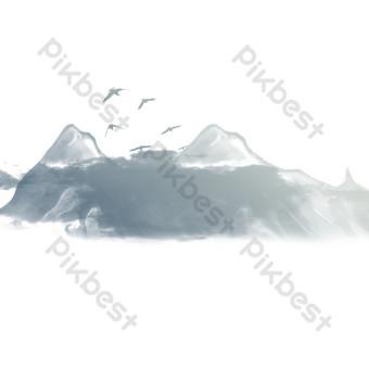 كرتون رمادي الحبر الجبل الحجر الرسم الحر صور PNG قالب PSD