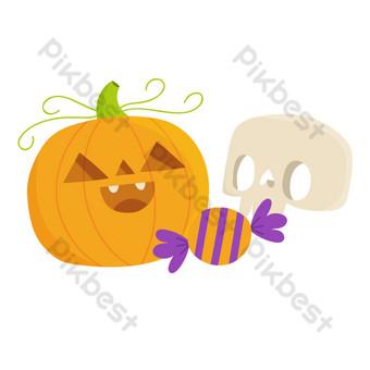dibujos animados de halloween calabaza calavera decoración navideña Elementos graficos Modelo PSD