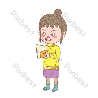 personaje de dibujos animados dibujados a mano leyendo carta de amor Elementos graficos Modelo PSD