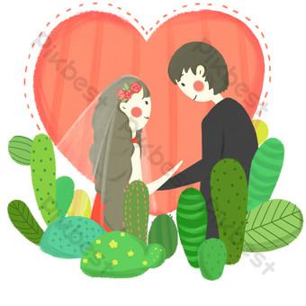 dibujos animados dibujados a mano planta amor boda foto Elementos graficos Modelo PSD