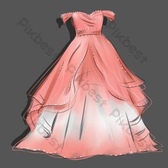 dibujos animados dibujados a mano romántico rosa niña corazón vestido de novia Elementos graficos Modelo PSD