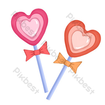 patrón de decoración de amor de vector de piruleta en forma de corazón de dibujos animados Elementos graficos Modelo PSD