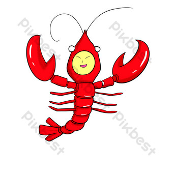 Cartoon humanoid seafood lobster PNG Images Template PSD