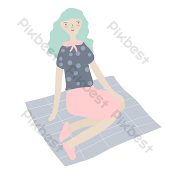 Fille d'illustration de dessin animé assise sur la couverture Éléments graphiques Modèle AI