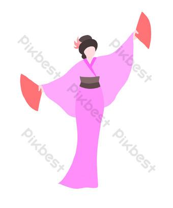 الكرتون امرأة الرقص اليابانية صور PNG قالب PSD