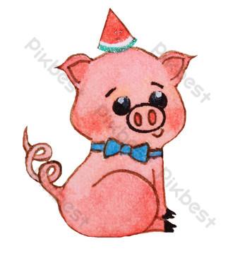 卡通吉祥物豬圖 元素 模板 PSD