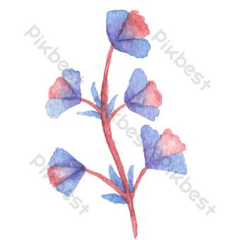 мультфильм фиолетовый синие цветы свободный вырез Графические элементы шаблон PSD