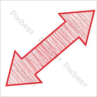 flecha de dibujo de línea roja de dibujos animados Elementos graficos Modelo PSD