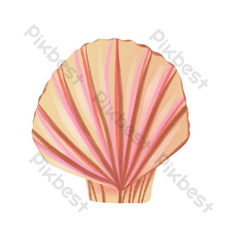 Cartoon red seashell PNG Images Template PSD