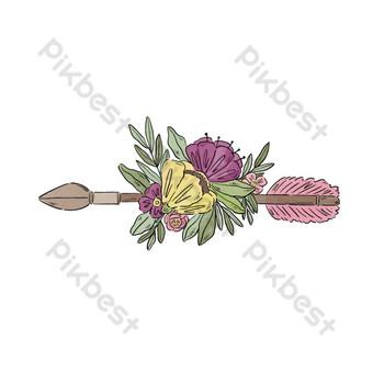 vector de flor de flecha retro de dibujos animados Elementos graficos Modelo EPS