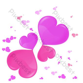 diseño de corazón romántico de dibujos animados Elementos graficos Modelo PSD