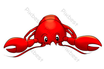 Cartoon seafood live shrimp lobster PNG Images Template PSD