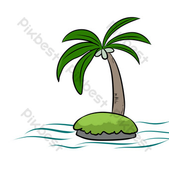Cartoon seaside lines simple coconut tree PNG Images Template PSD