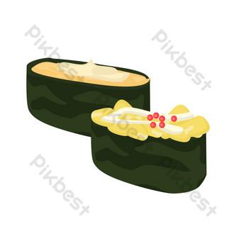 ilustración de arroz relleno de algas de dibujos animados Elementos graficos Modelo PSD