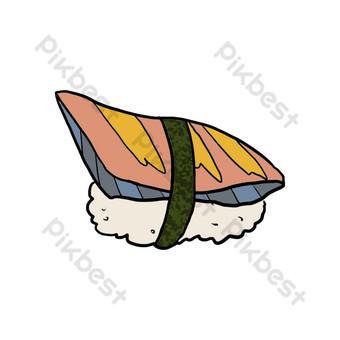 ilustración de sushi de algas de dibujos animados Elementos graficos Modelo PSD