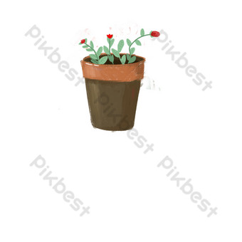 elemento de diseño de planta en maceta simple de dibujos animados Elementos graficos Modelo PSD