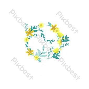 elemento de diseño de corona de planta de estilo acuarela simple de Elementos graficos Modelo PSD