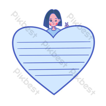 vector de dibujos animados linda chica japonesa papel de nota Elementos graficos Modelo PSD