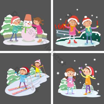 personaje de invierno de dibujos animados muñeco de nieve calabaza de azúcar esquí apreciación de la nieve Elementos graficos Modelo PSD