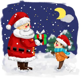 عيد الميلاد الكرتون الشتاء سانتا كلوز تقديم الهدايا للأطفال صور PNG قالب PSD