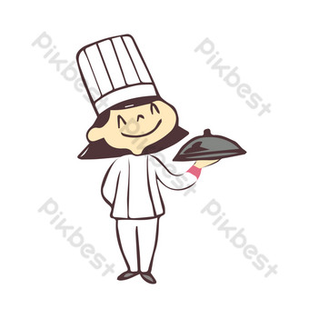 Catering chef illustration serving PNG Images Template PSD