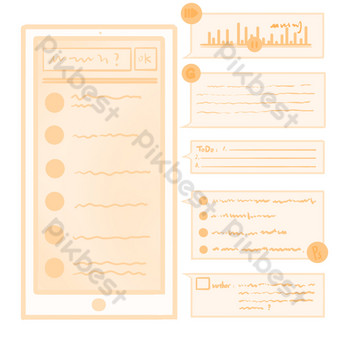 Cell phone message sending PNG Images Template PSD