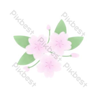 Cherry blossom festival three cherry blossom peach blossom bone leaf decoration PNG Images Template PSD