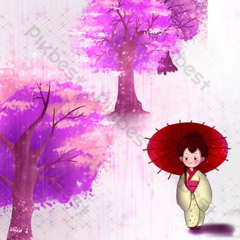 شجرة الكرز إزهار الكرز الياباني كيمونو امرأة الكرتون صور PNG قالب PSD