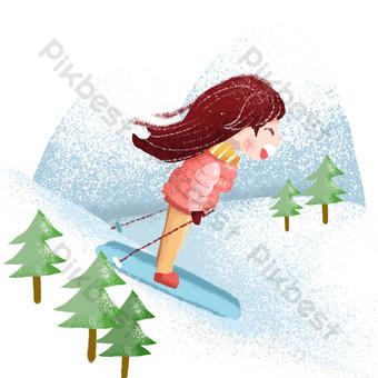 día del niño recuerdos de la infancia esquí Elementos graficos Modelo PSD