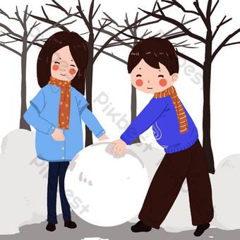 niños bola de nieve Elementos graficos Modelo PSD