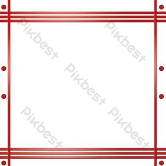 中國風點線簡約文藝清新邊框透明底png插畫 元素 模板 PSD