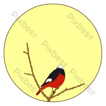 flores de estilo chino y pájaros borde redondo vientre rojo vector de cola roja estera libre Elementos graficos Modelo EPS