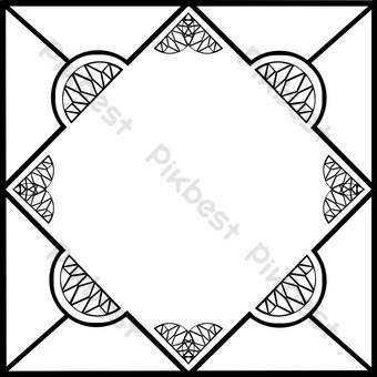 中國風幾何手繪簡約文藝清新邊框透明底png插畫 元素 模板 PSD