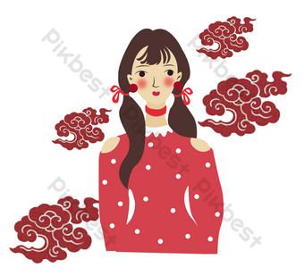 chica de estilo chino hermosa mano dibujada png vector ilustración Elementos graficos Modelo AI
