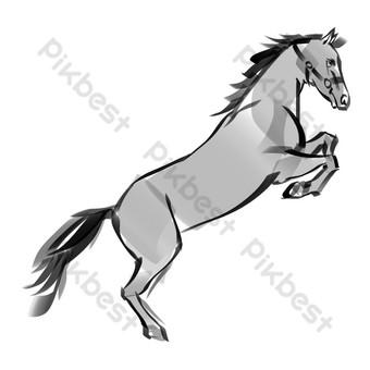 حبر على الطريقة الصينية ، حصان ، تصوير صور PNG قالب PSD