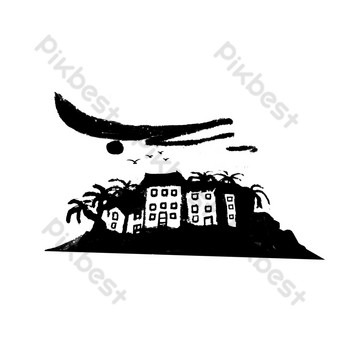 Chinese style ink seaside coconut tree building construction real estate coconut fruit product PNG free deduction PNG Images Template PSD