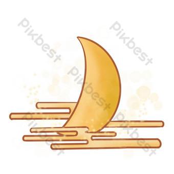 luna de estilo chino nubes auspiciosas estrellas brillantes patrón decorativo png Elementos graficos Modelo PSD