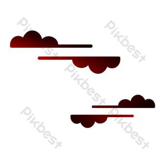 中國風紅色漸變雲紋海報裝飾 元素 模板 PSD