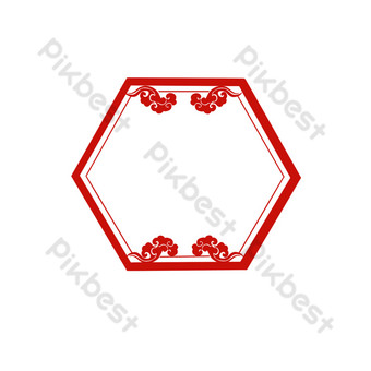 Chinese style simple free buckle border PNG Images Template PSD