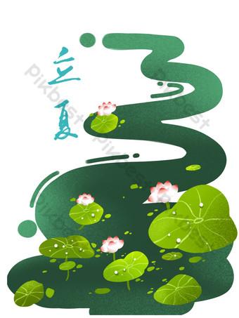 Vent chinois, paysage, calendrier lunaire, termes solaires, Li Xia, étang de lotus, lotus Éléments graphiques Modèle PSD