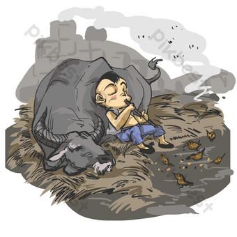 gaya cina dan tinta istirahat anak gembala dan kerbau Elemen Grafis Templat PSD