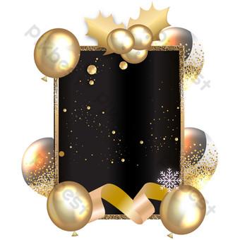 Décoration de bordure de carte de voeux or noir de Noël Éléments graphiques Modèle AI