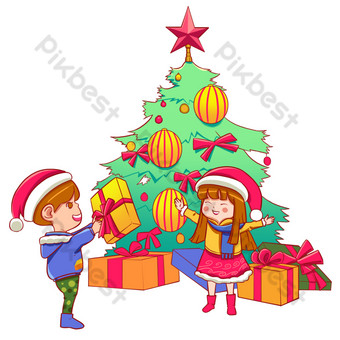 Christmas boy and girl receiving Christmas gifts PNG Images Template PSD