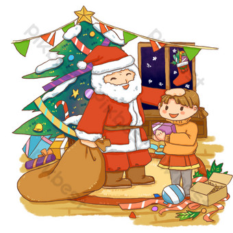 Christmas business element santa scene send gift PNG Images Template PSD