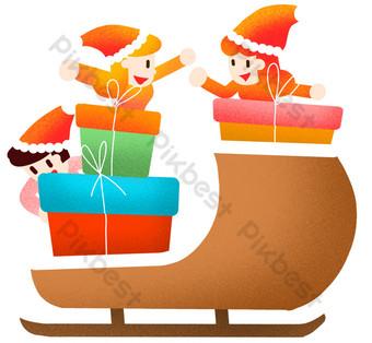 ilustración de trineo de navidad de navidad Elementos graficos Modelo PSD